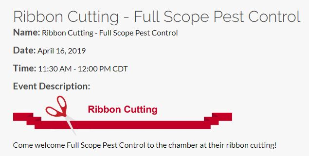 FullScope Pest Control Ribbon Cutting EVent